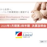リニカル|2020年3月期第2四半期 決算説明会
