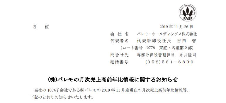 (株)パレモの月次売上高前年比情報に関するお知らせ