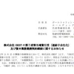 株式会社 CREST の第三者割当増資引受(連結子会社化)及び資本業務提携契約締結に関するお知らせ