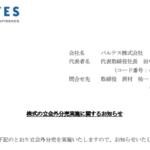 バルテス|株式の立会外分売実施に関するお知らせ
