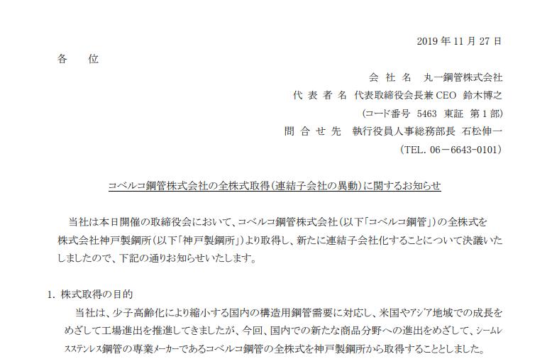 丸一鋼管 コベルコ鋼管株式会社の全株式取得(連結子会社の異動)に関するお知らせ
