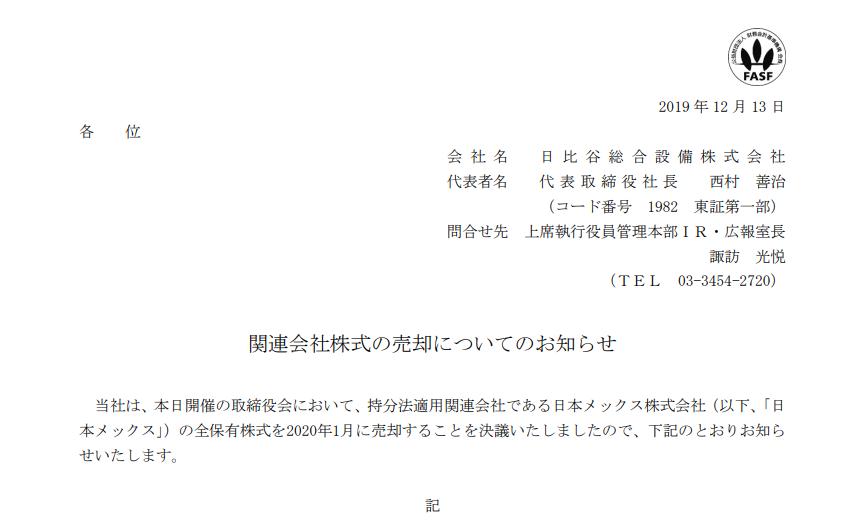 日比谷総合設備 関連会社株式の売却についてのお知らせ