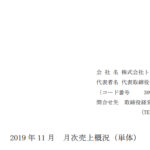 トレジャー・ファクトリー|2019 年 11 月 月次売上概況(単体)