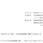クスリのアオキホールディングス|2019 年 12 月度 月次営業速報に関するお知らせ