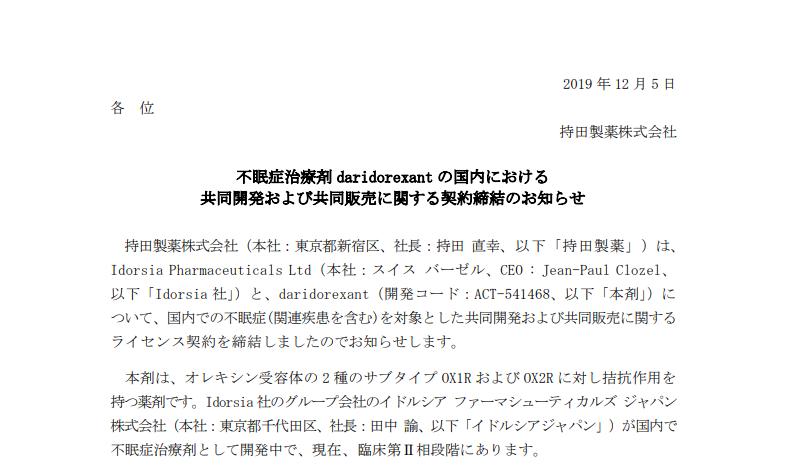 持田製薬|不眠症治療剤 daridorexant の国内における共同開発および共同販売に関する契約締結のお知らせ