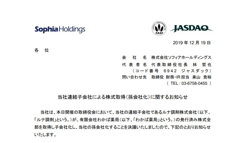 ソフィアホールディングス 当社連結子会社による株式取得(孫会社化)に関するお知らせ