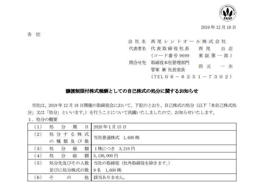 西尾レントオール|譲渡制限付株式報酬としての自己株式の処分に関するお知らせ