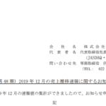カルラ|(第 48 期)2019 年 12 月の売上推移速報に関するお知らせ