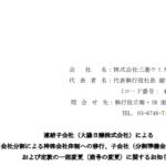 三菱ケミカルホールディングス|連結子会社(大陽日酸株式会社)による 会社分割による持株会社体制への移行、子会社(分割準備会社)の設立 および定款の一部変更(商号の変更)に関するお知らせ