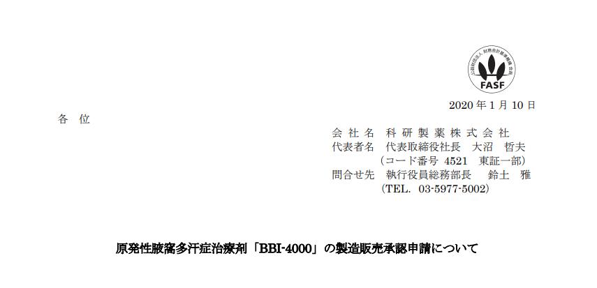科研製薬|原発性腋窩多汗症治療剤「BBI-4000」の製造販売承認申請について