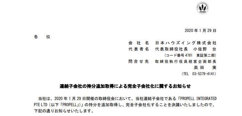 日本ハウズイング|連結子会社の持分追加取得による完全子会社化に関するお知らせ