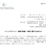 MediciNova,Inc|ストックオプション(新株予約権)の発行に関するお知らせ