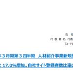 MS-Japan|2020 年3月期第3四半期 人材紹介事業新規登録者数  前年同期比 17.0%増加。自社サイト登録者数比率は 98.0%。