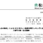 松井証券|「みんなの株式」による 2019 年ネット証券年間ランキングにおいて3 部門で第 1 位を獲得