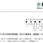 松井証券|2019 年 12 月の月間売買実績・取引口座数等(速報値)のお知らせ