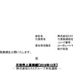 ミスミグループ本社|月別売上高実績【2019年12月】 - 株式会社ミスミグループ本社連結 -