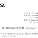 戸田建設|株主優待制度の変更に関するお知らせ